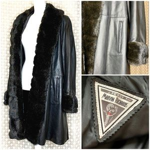 MARVIN RICHARDS 100% Leather Trench Coat Fur Black